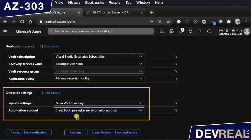 Extension settings for Azure Site Recovery