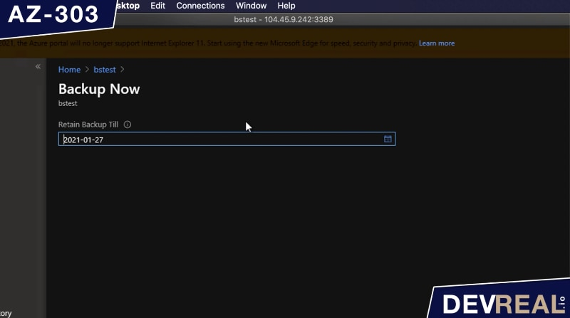 Retention time of VM backup