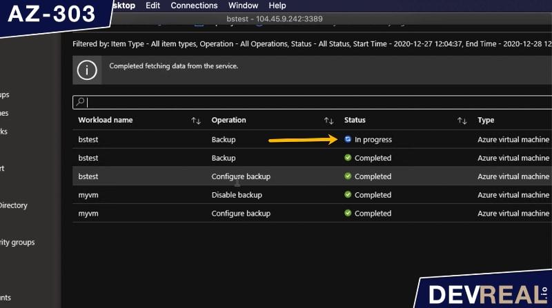 Backup of VM in progress