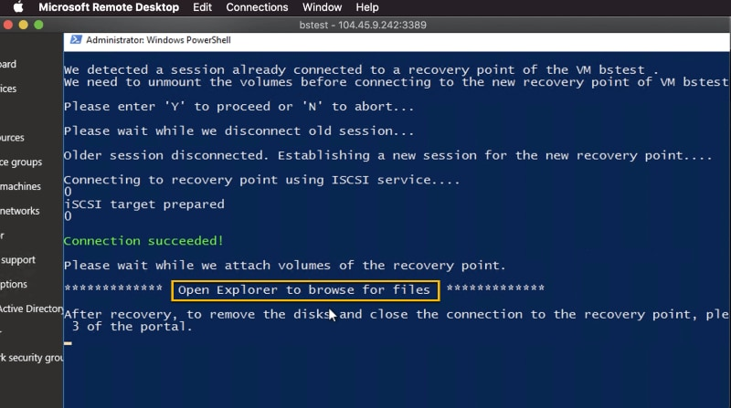 PowerShell runs the installation