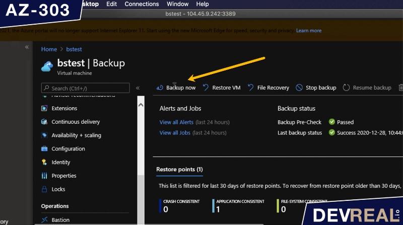 Backup VM in Azure