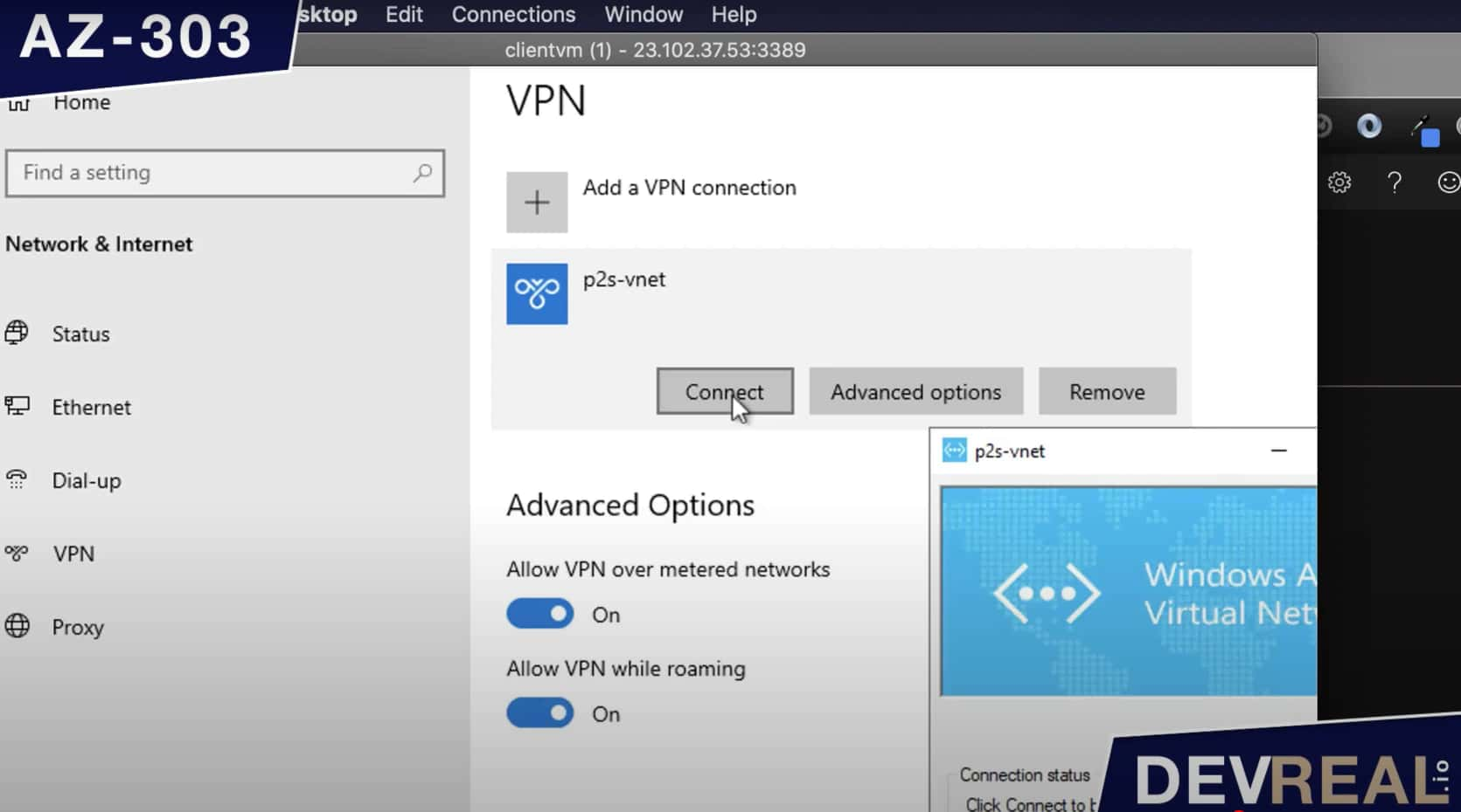 Connect to virtual network
