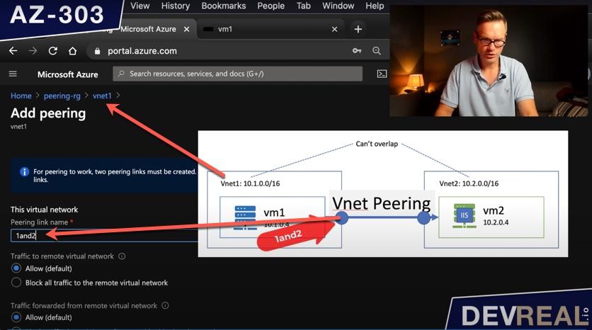 Naming one side of VNet peering