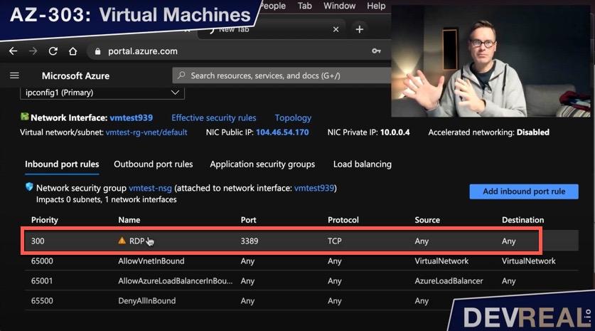 Inbound port rules of VM