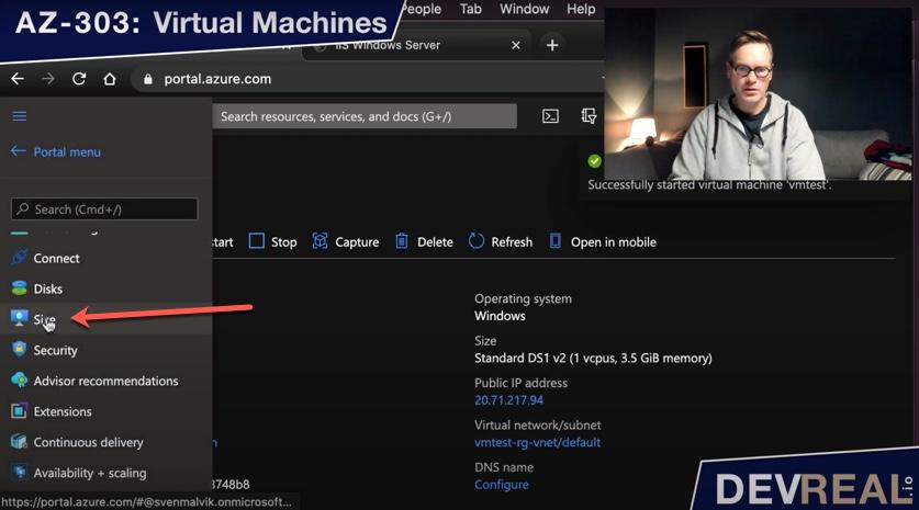 Change VM size