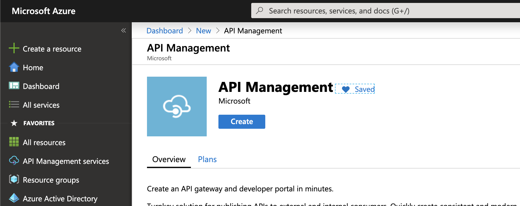 Select Azure API Management in the Portal