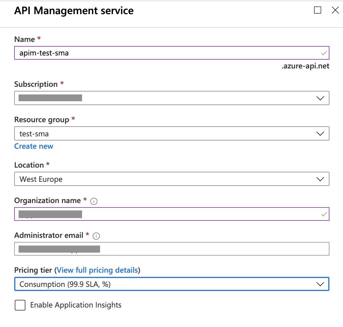 Azure API Management Form