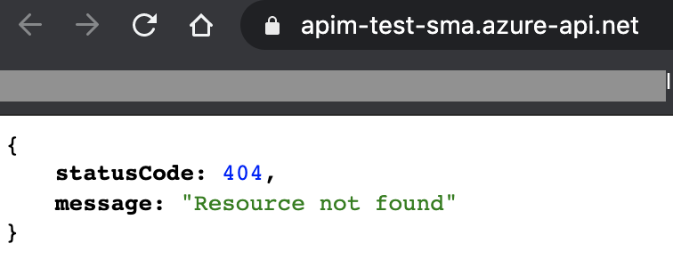 Response from a test call to Azure API Management