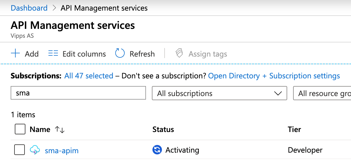 New instance of API Management