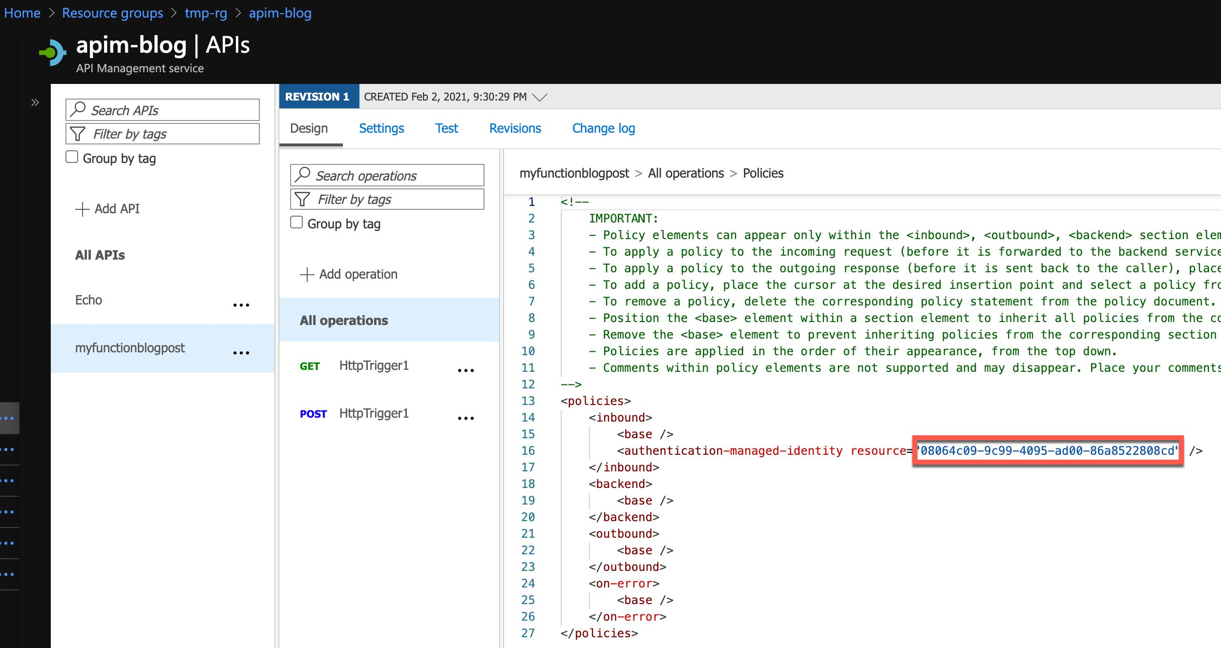 Editing Azure API Management Policy