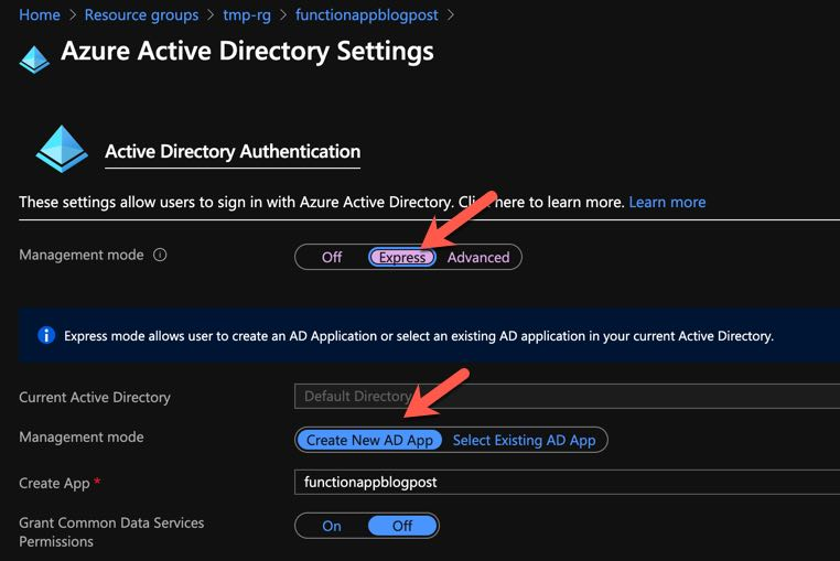 Enabling AAD Authentication in Azure Functions 2