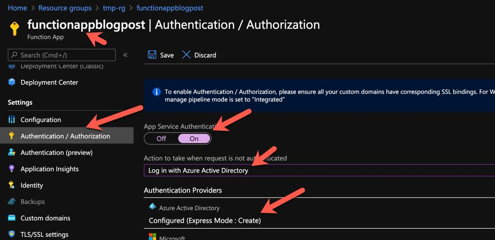 Enabling AAD Authentication in Azure Functions 1