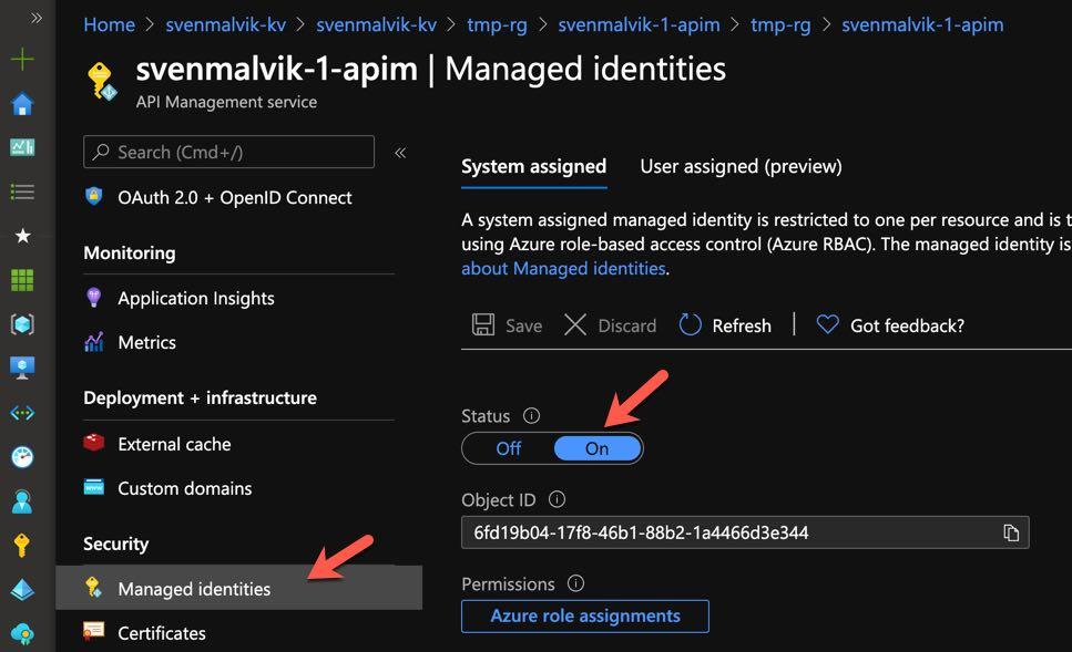 Enable managed system identity in Azure API Management