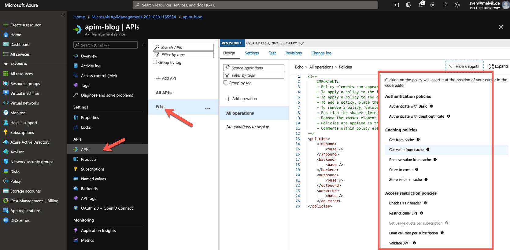 Azure API Management Policy Snippets