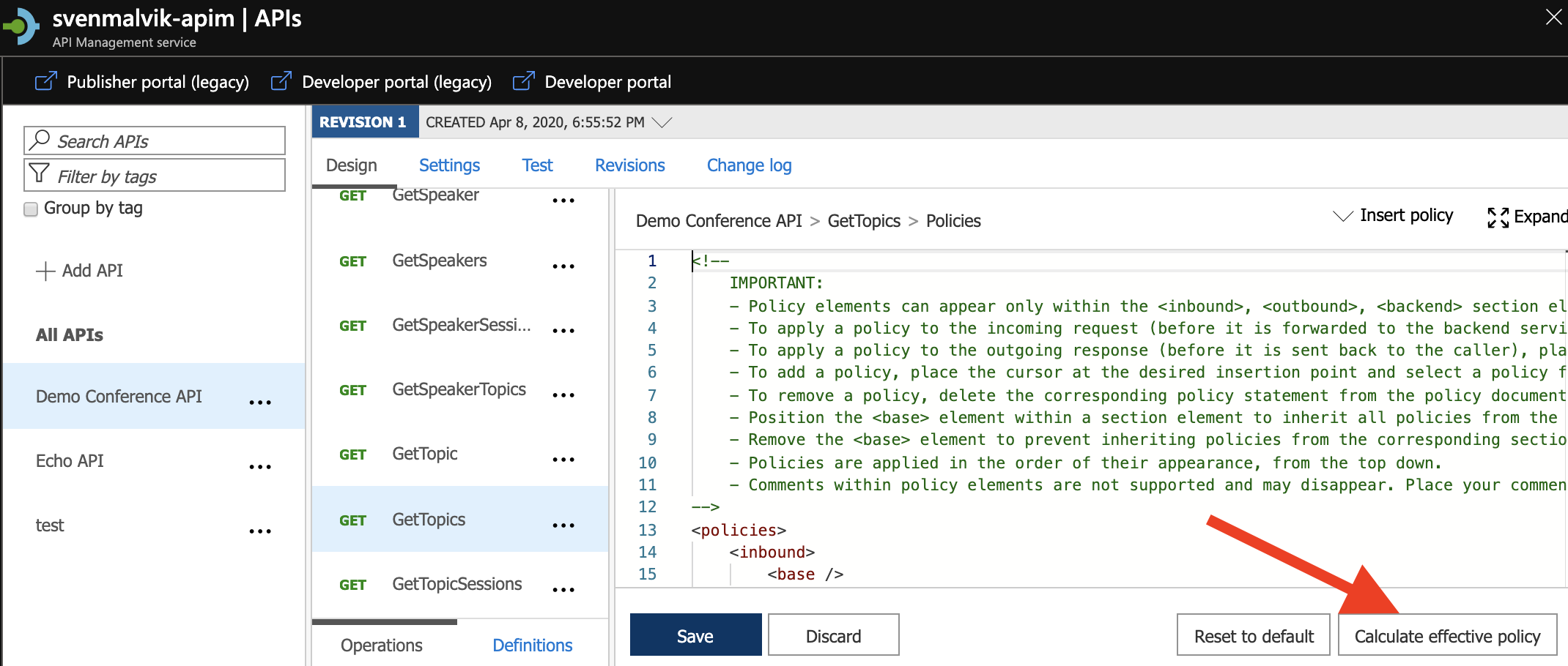 Calculate complete Azure API Management Policy