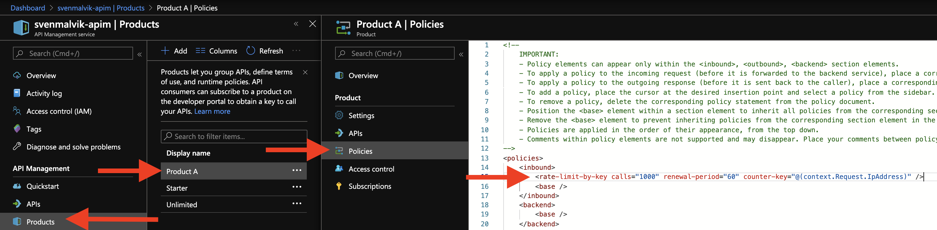 Adding rate limiting on product-level in Azure API Management