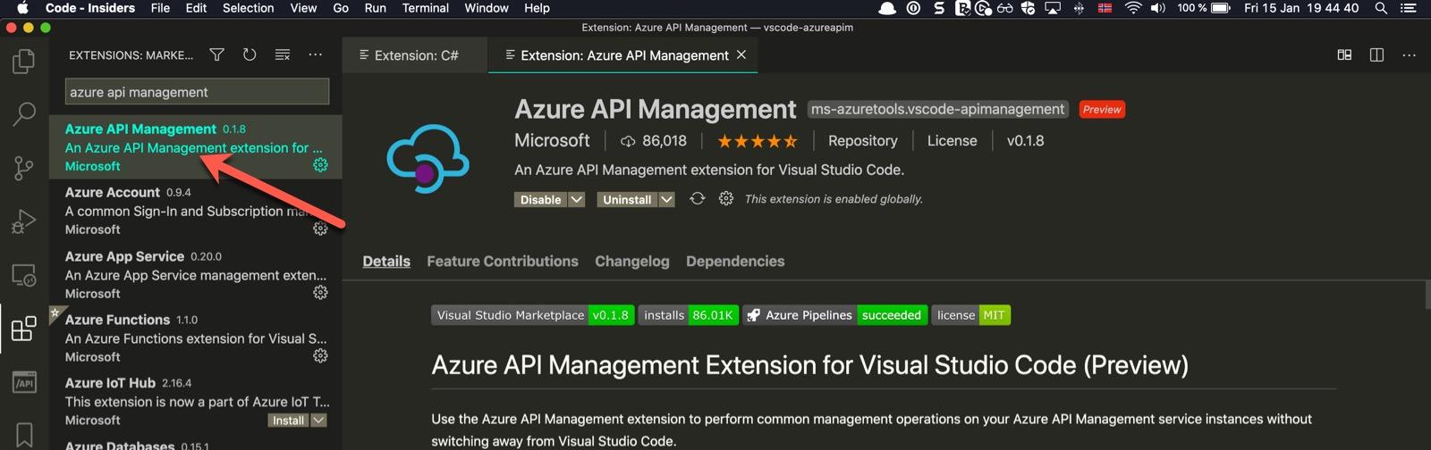 VSCode extension for Azure API Management
