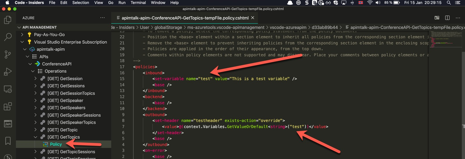 Changing API Operation Policy in Azure API Management