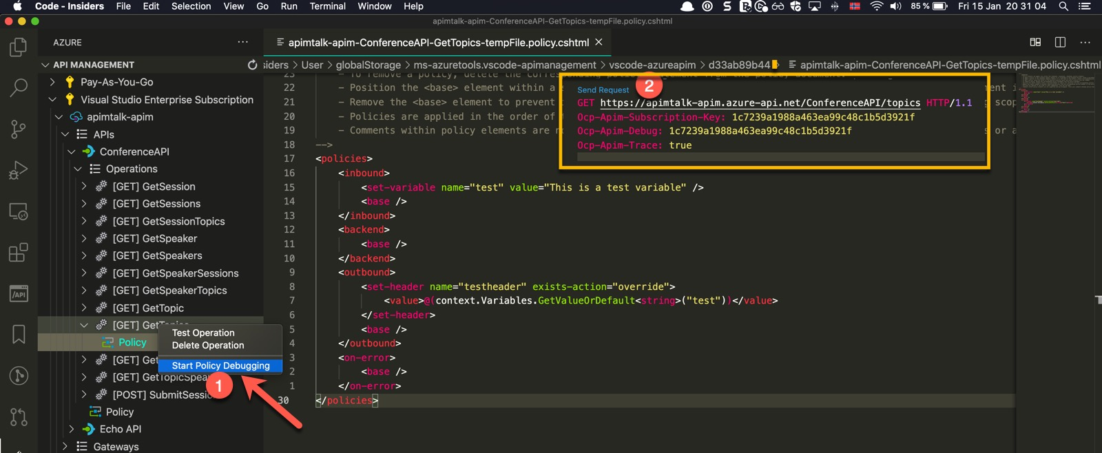 Start Debugging Policy in Azure API Management