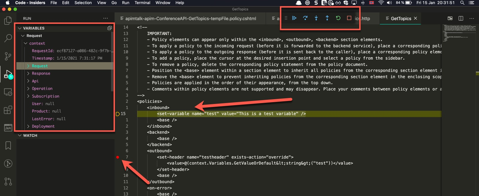 Hitting Breakpoint when Debugging Policy in Azure API Management