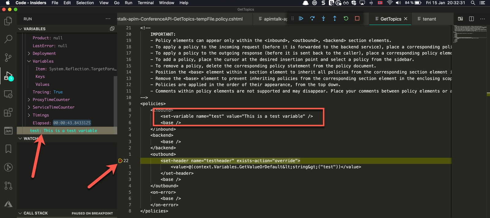 Variables in Debugging Policy in Azure API Management