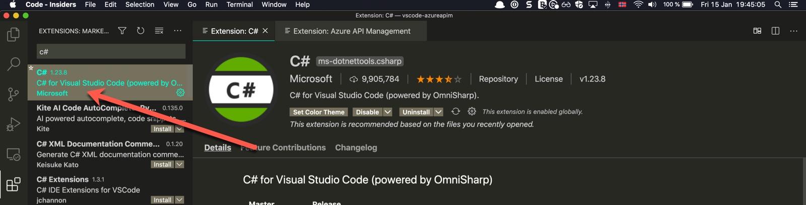 VSCode extension C#