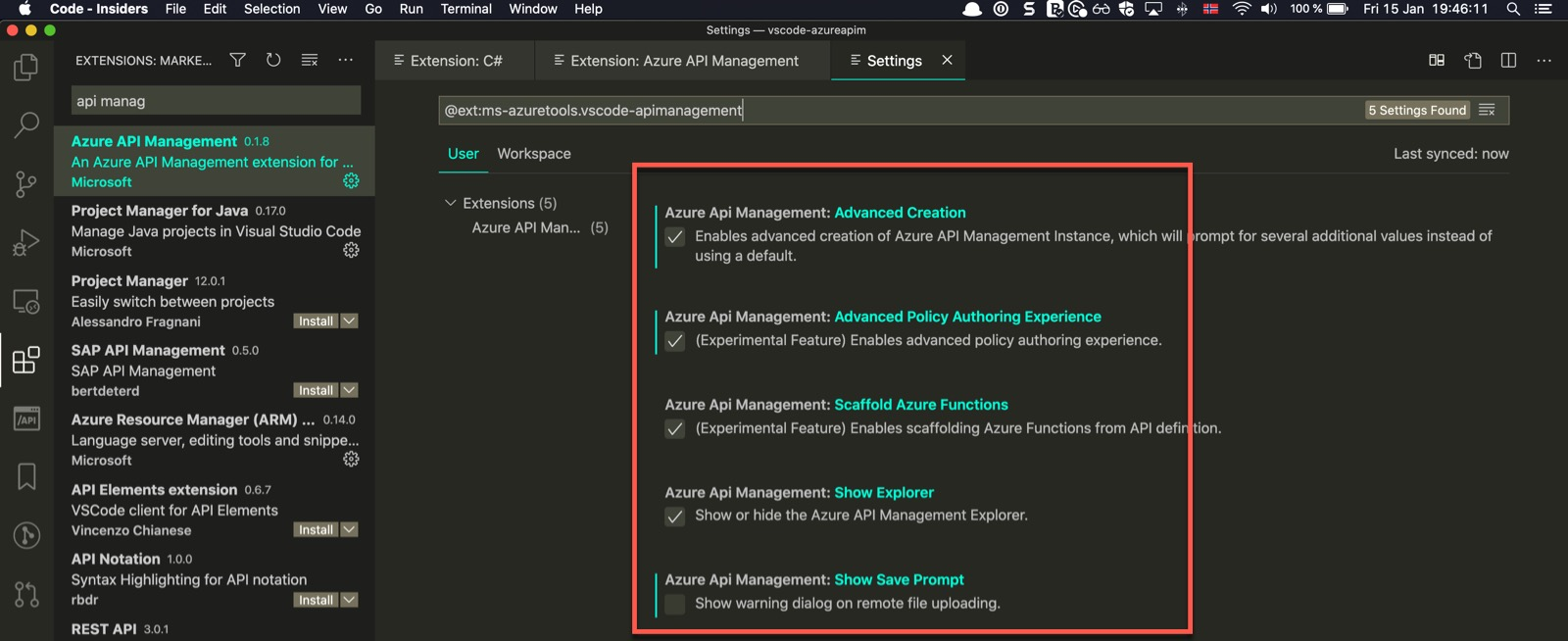 Configuring VSCode extension for Azure API Management