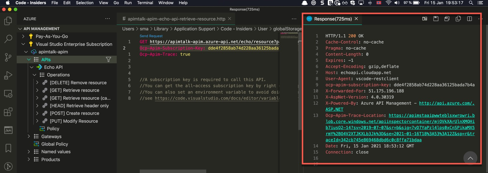 API Response in VSCode