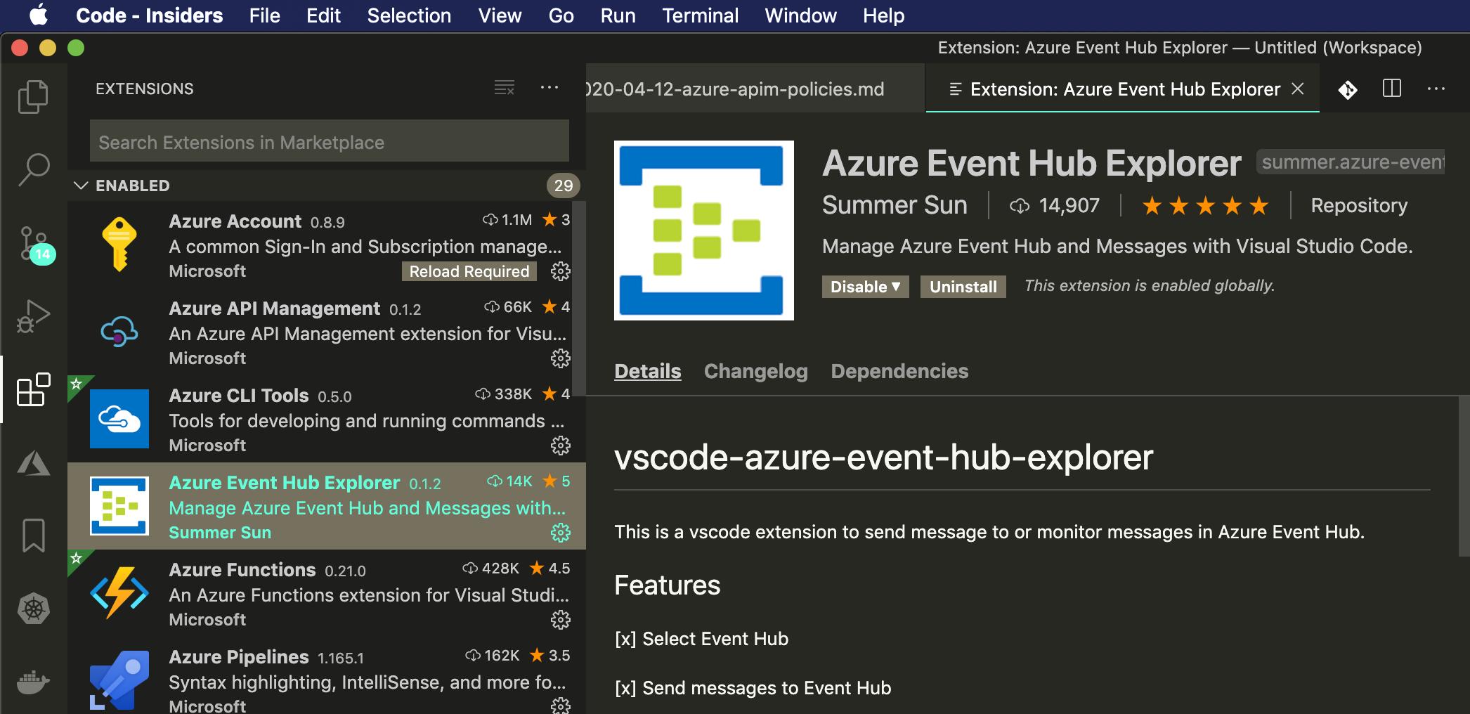 VS Code Plugin Azure Event Hub Explorer