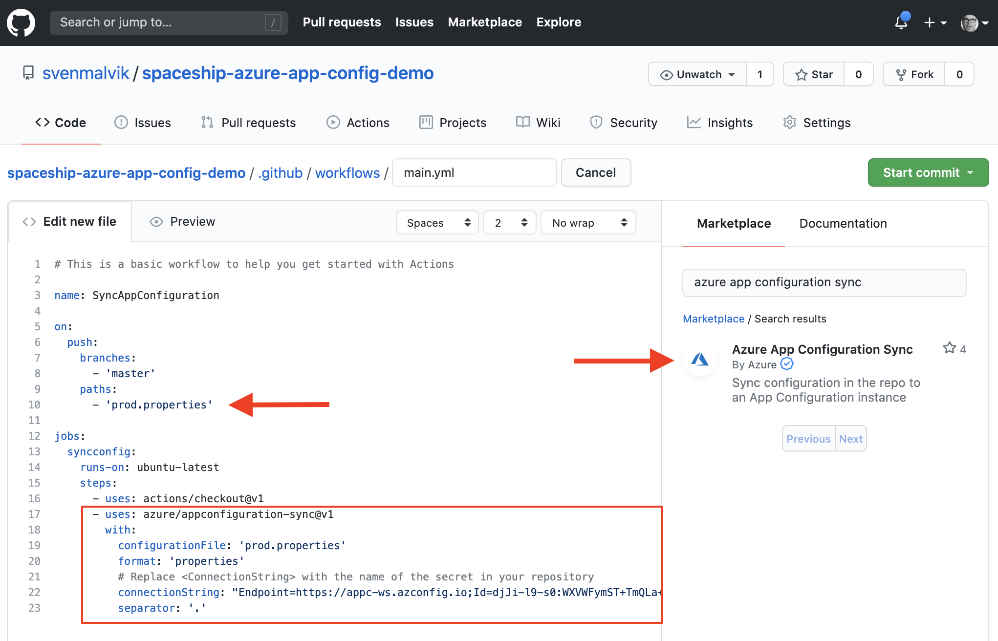 GitHub Actions Workflow file for Azure App Configuration sync