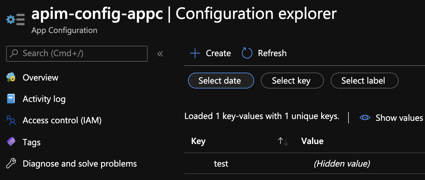 Key in Azure App Configuration