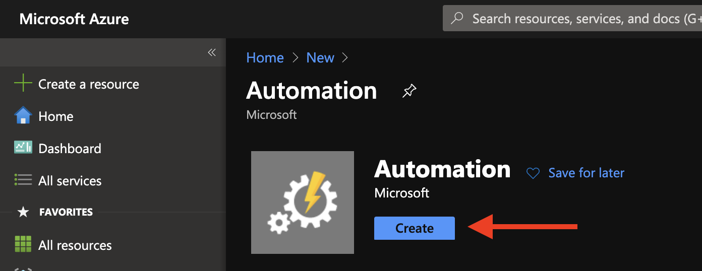 Create Azure Automation Account