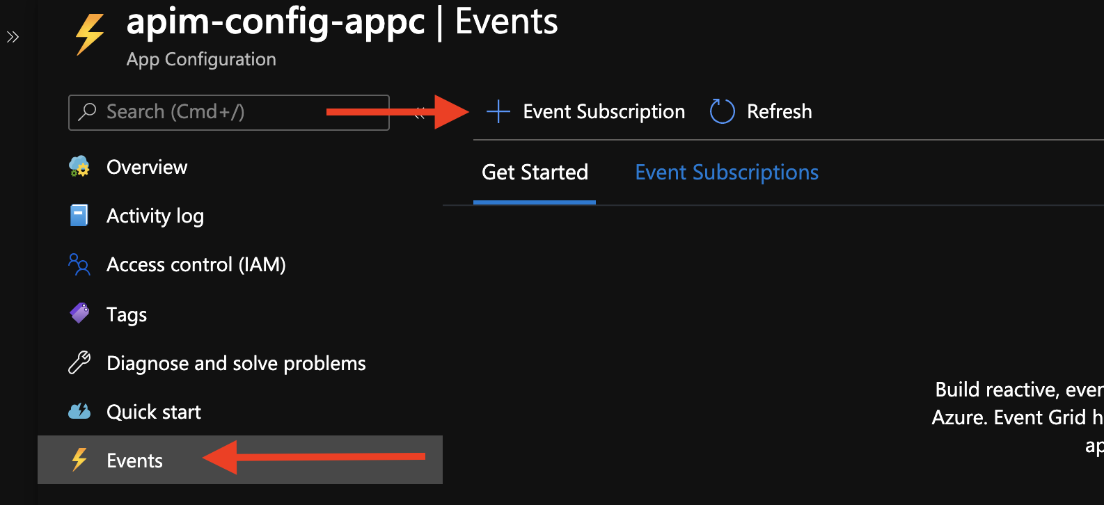 Create Event Subscription in Azure App Configuration