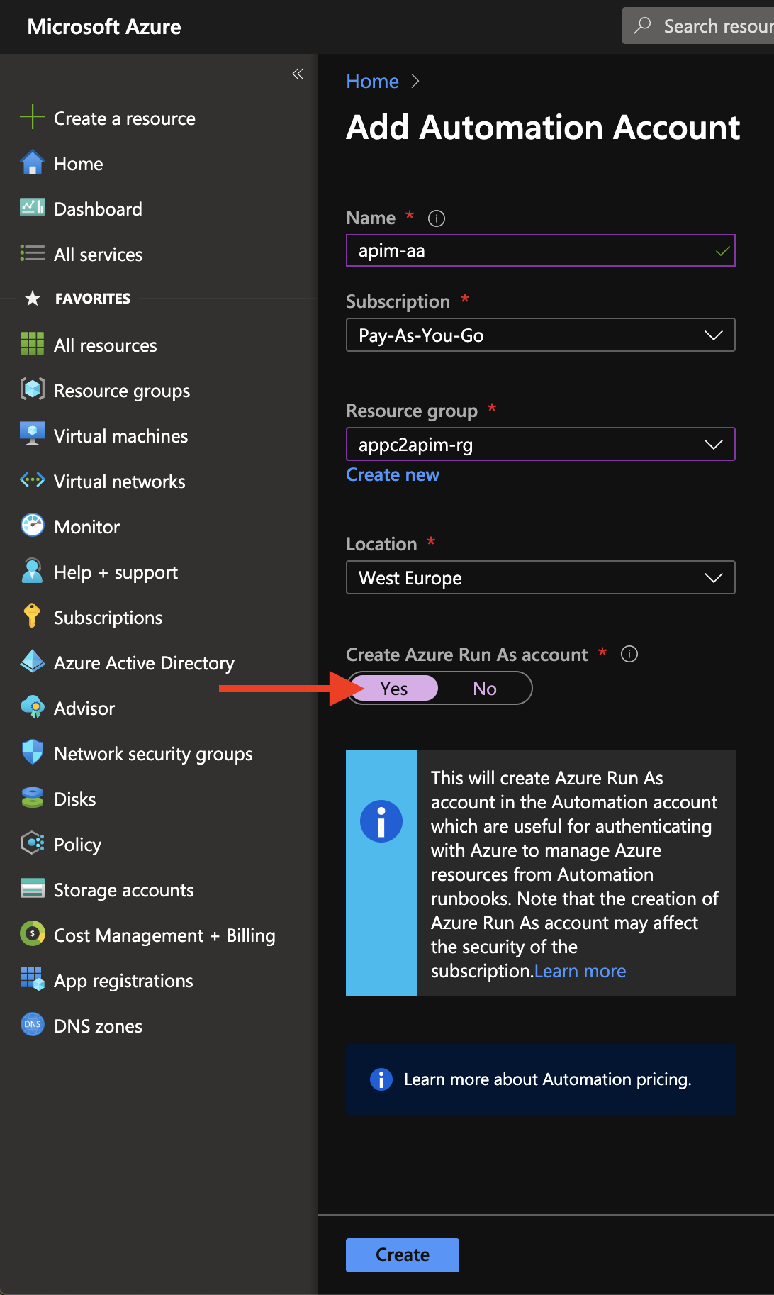 Configure Azure Automation Account