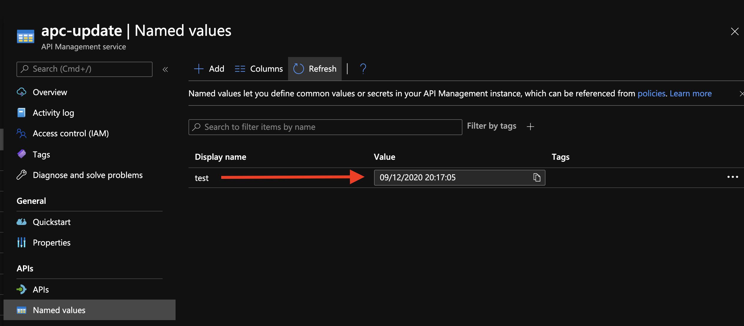 Updated Named Value in Azure API Management