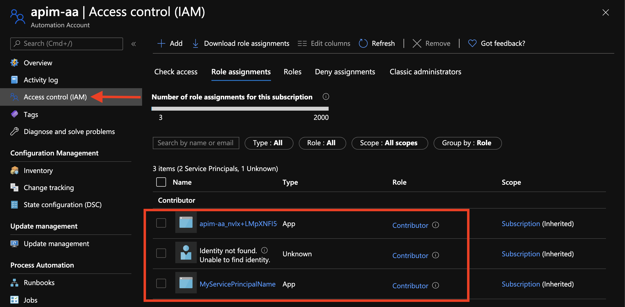 Azure Automation Account Service Principle