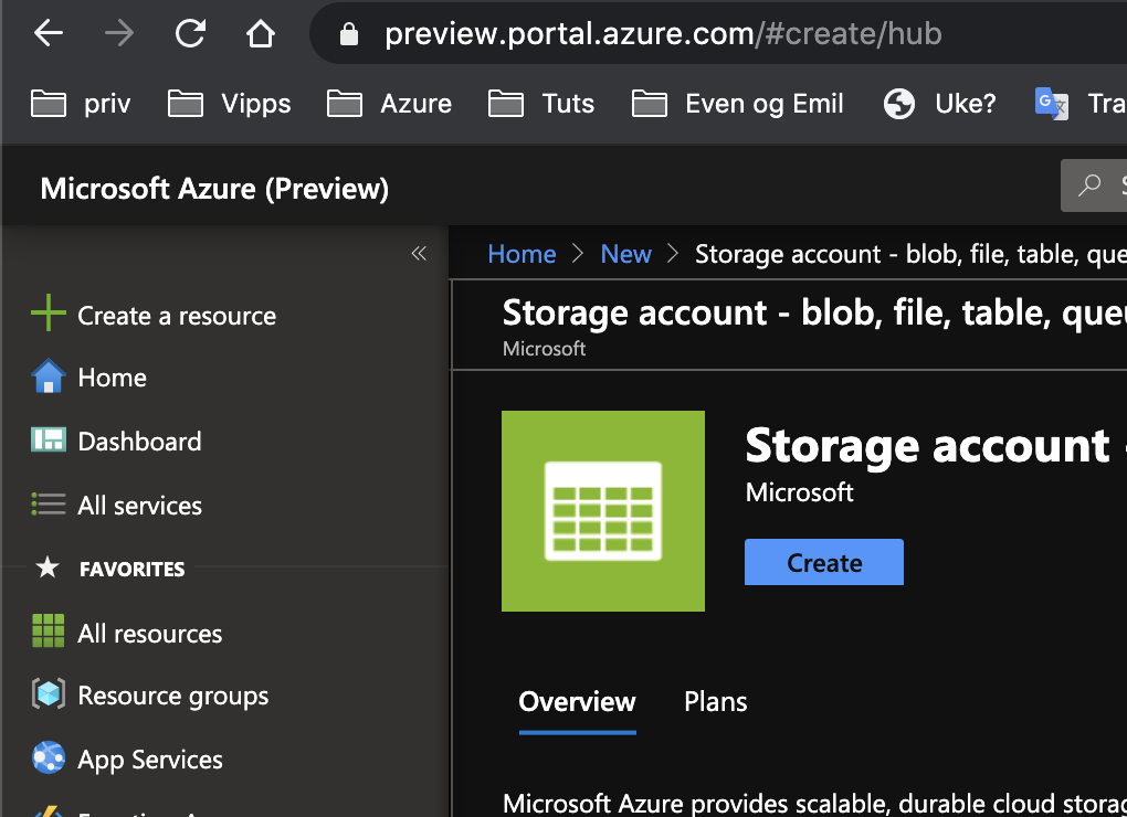 Create Azure Storage Account