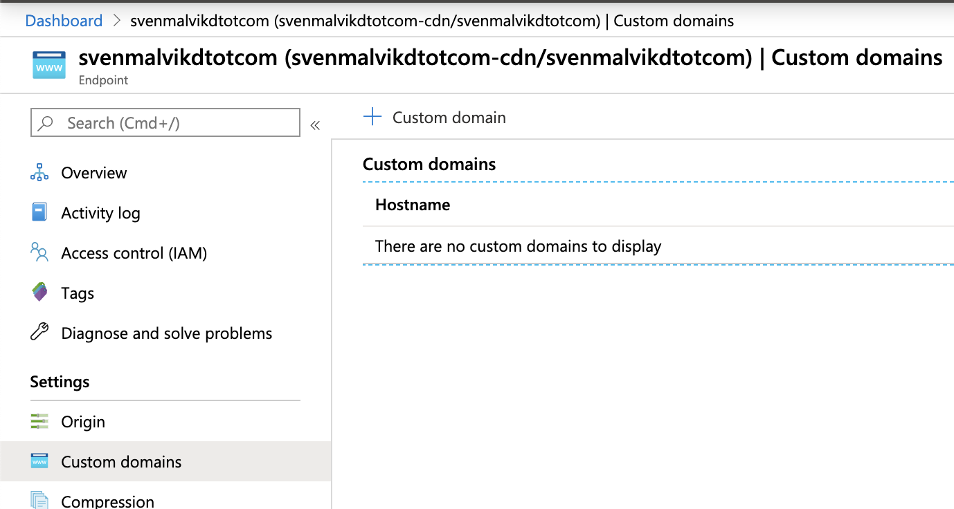 Azure CDN Custom Domain