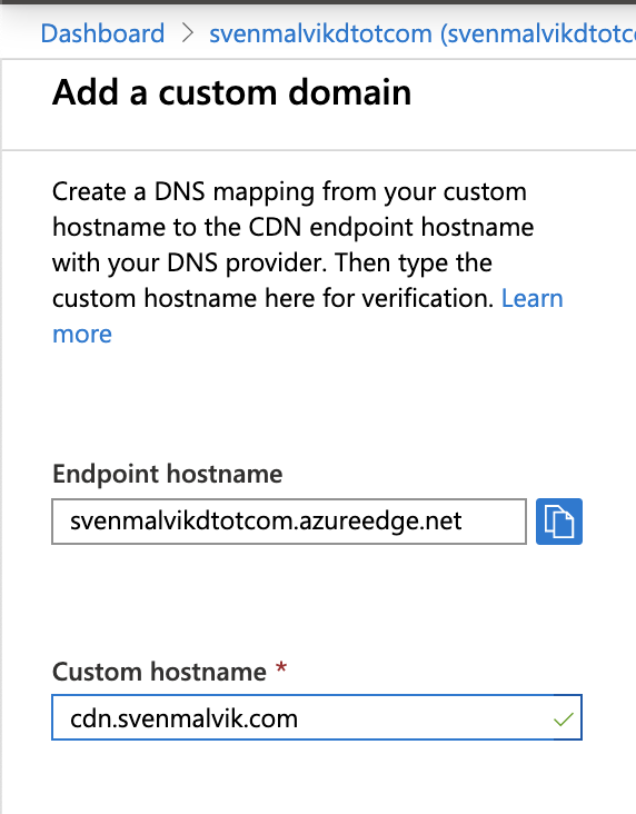 Add Azure CDN Custom Domain
