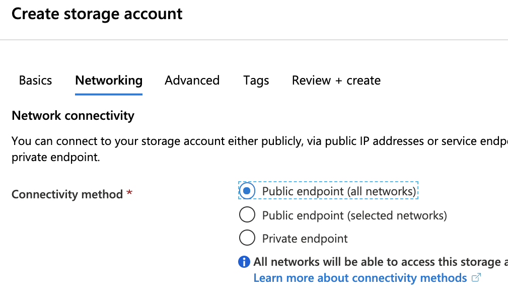Create Azure Storage Account Networking