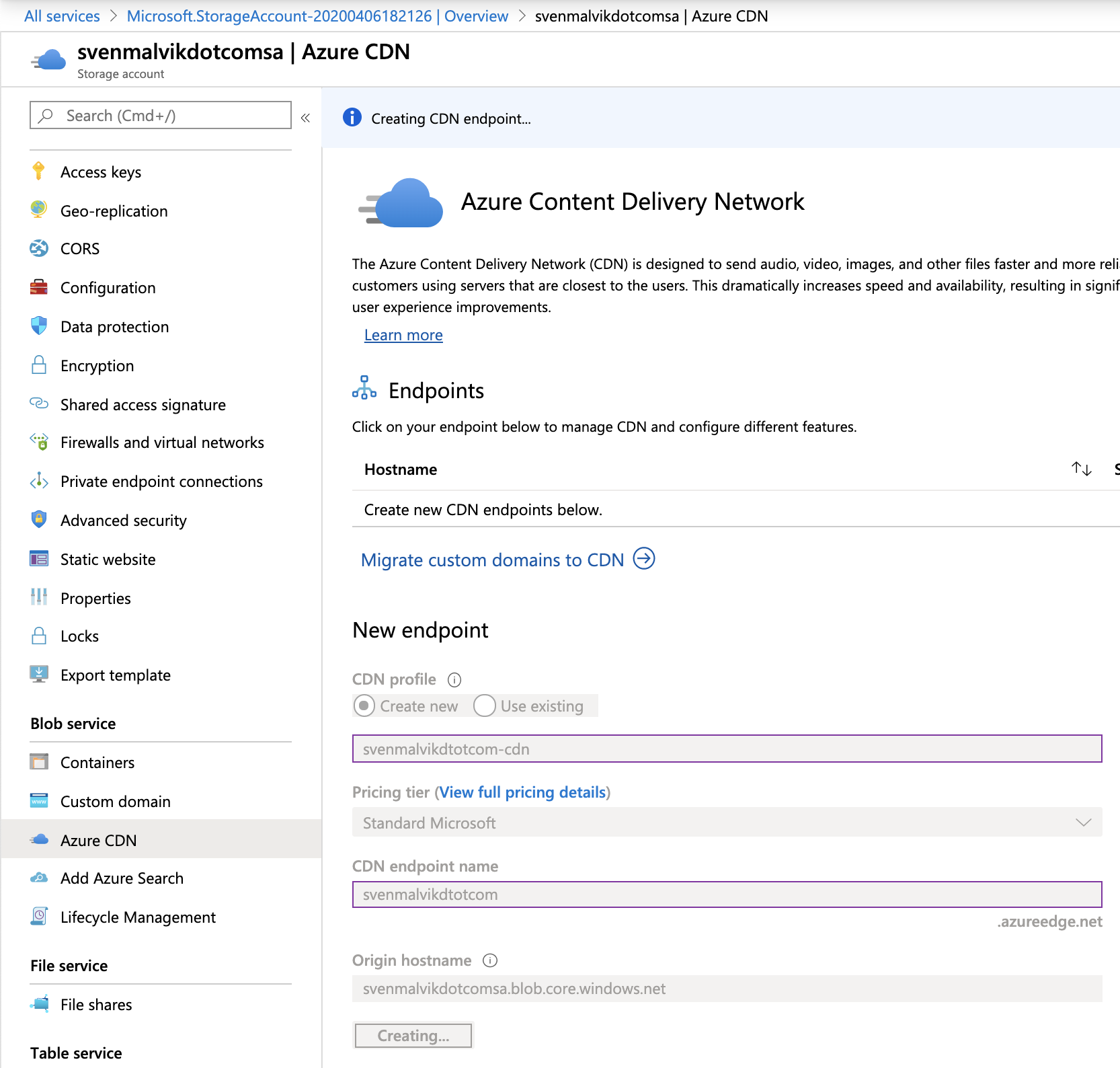 Create Azure CDN