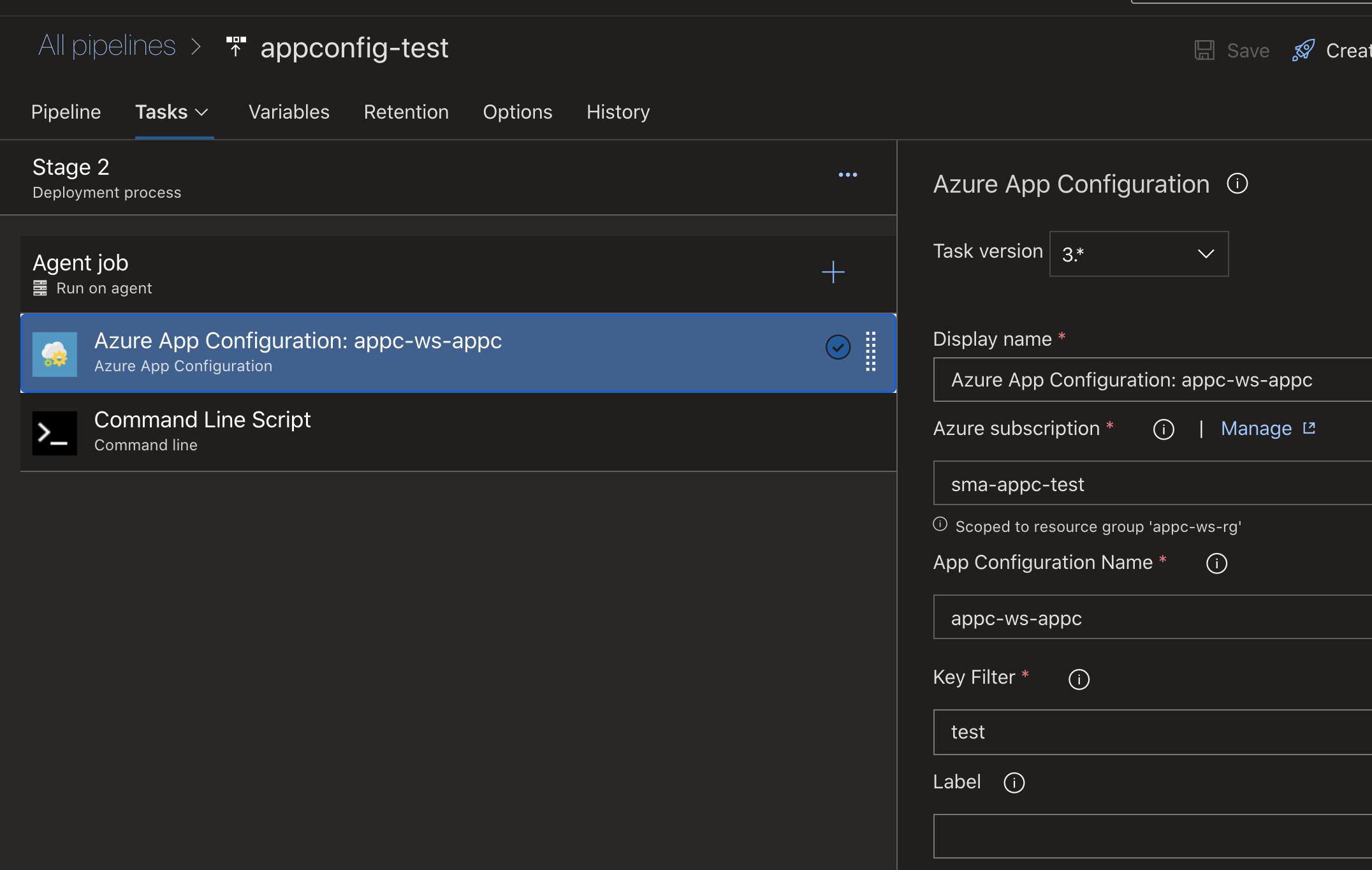 Configuring Azure App Configuration task in Azure DevOps